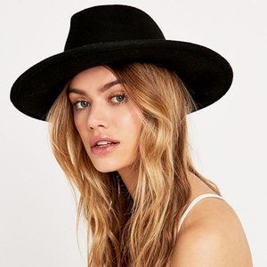 Silence & Noise Black Wool Wide Brim Fedora
